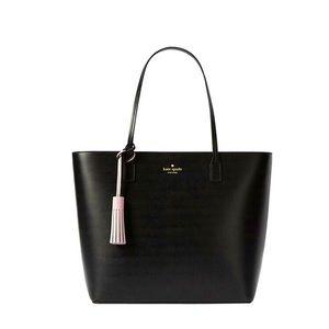 Kate Spade Black Tote Bag With Pink Tassel